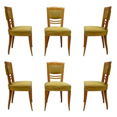 Set of Six Fine French Art Deco Sycamore Dining Chairs by Batistin Spade