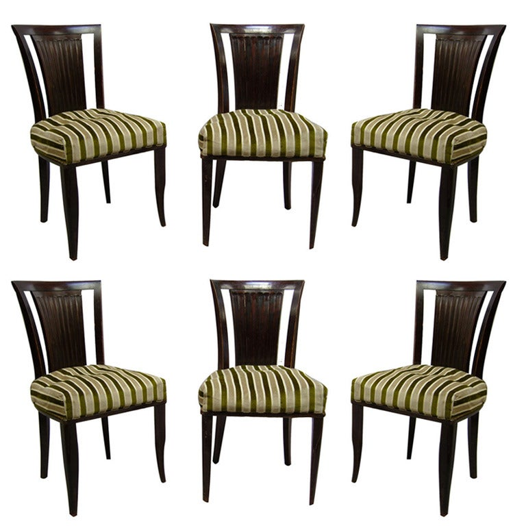A Set of Six French Art Deco Mahogany Dining Chairs by Gaston Poisson