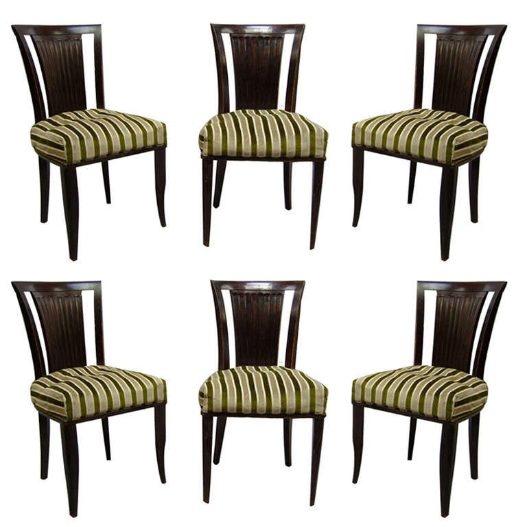 Set of Six French Art Deco Chairs by Gaston Poisson For Sale