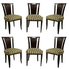 Set of Six French Art Deco Chairs by Gaston Poisson
