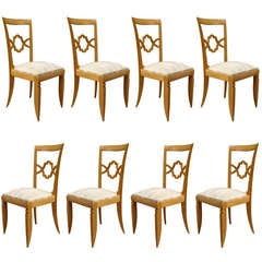 Set of 10 + 2 arms French Art Deco Chairs