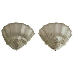 A Fine Pair of French Art Deco Frosted Glass Sconces by Genet Michon