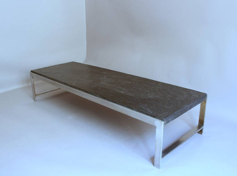 French Large 1970s Metal and Slate Coffee Table For Sale at 1stdibs