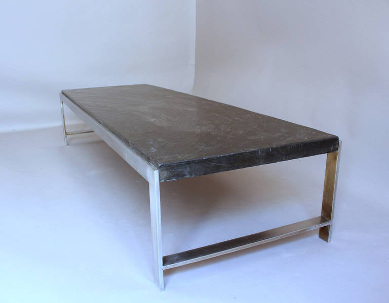Fine french large 1970s metal and slate coffee table for for Table basse grande dimension