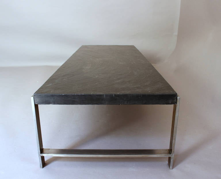 Fine french large 1970s metal and slate coffee table for sale at 1stdibs - Table basse grande taille ...