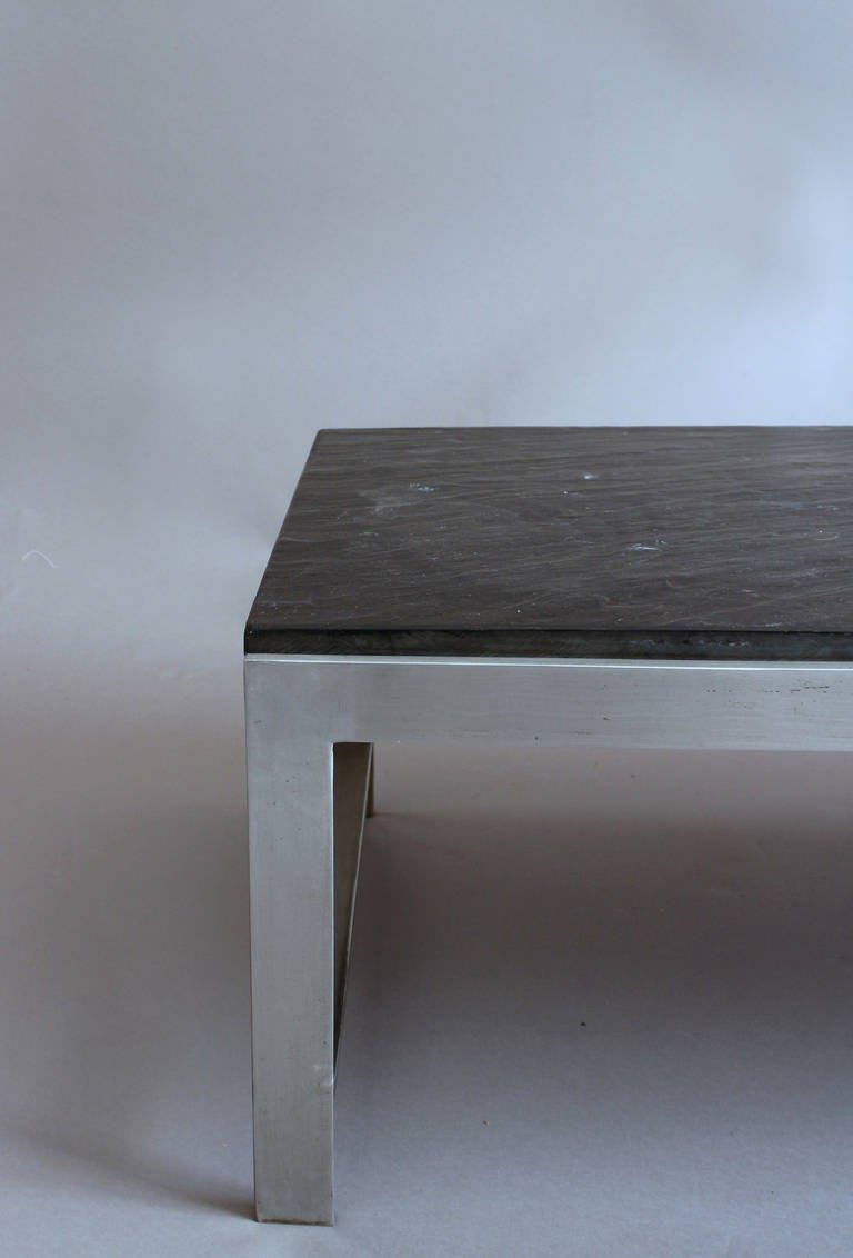A Large Fine French 1970s Metal and Slate Coffee Table For Sale 1