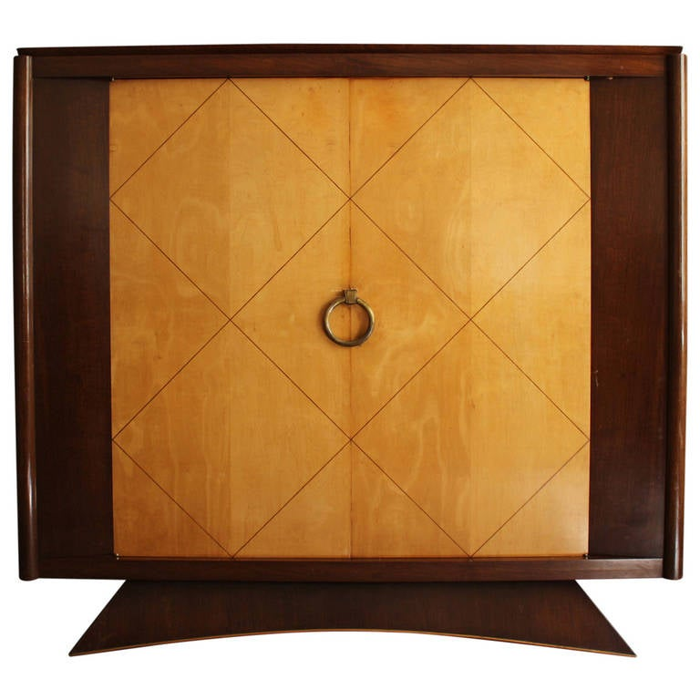Fine French Art Deco Rosewood and Sycamore Two Doors Armoire