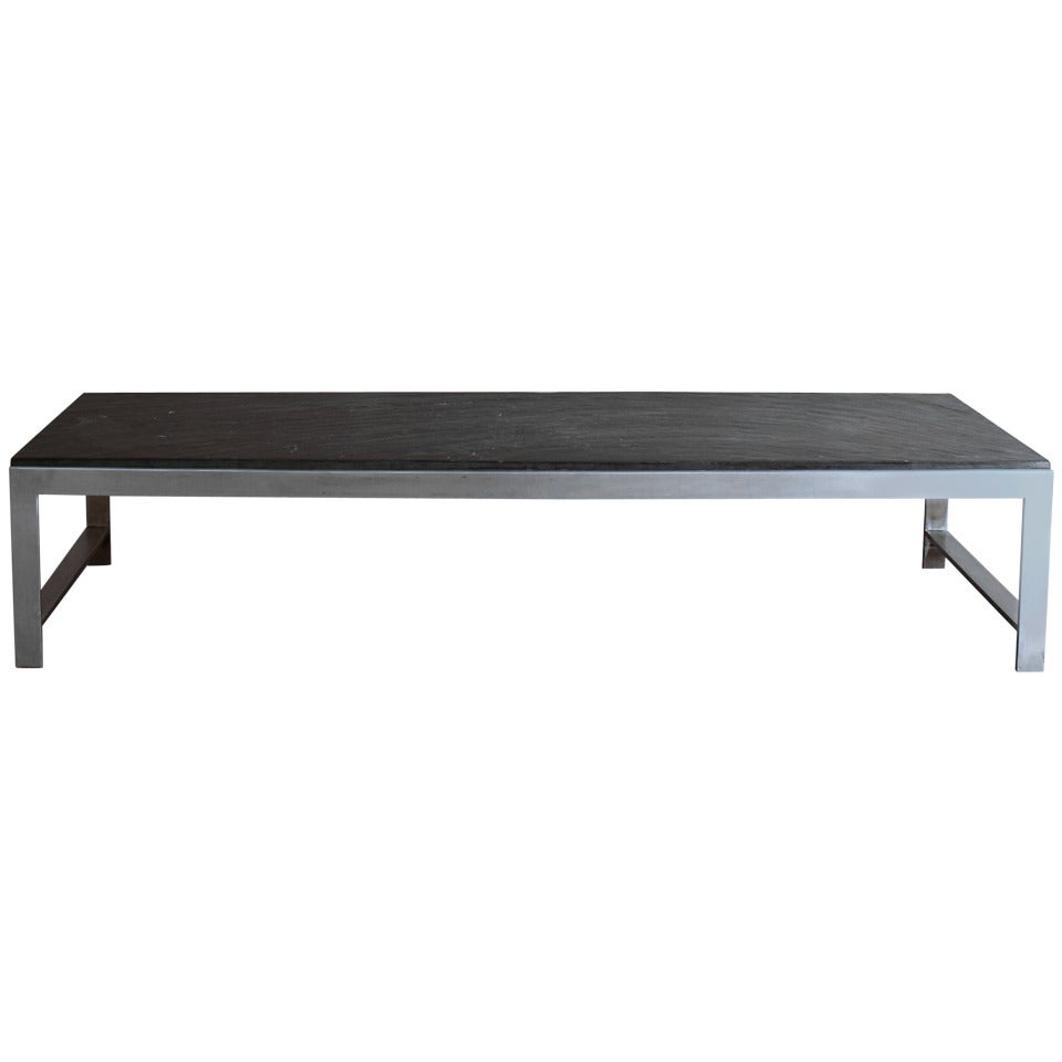 A Large Fine French 1970s Metal and Slate Coffee Table