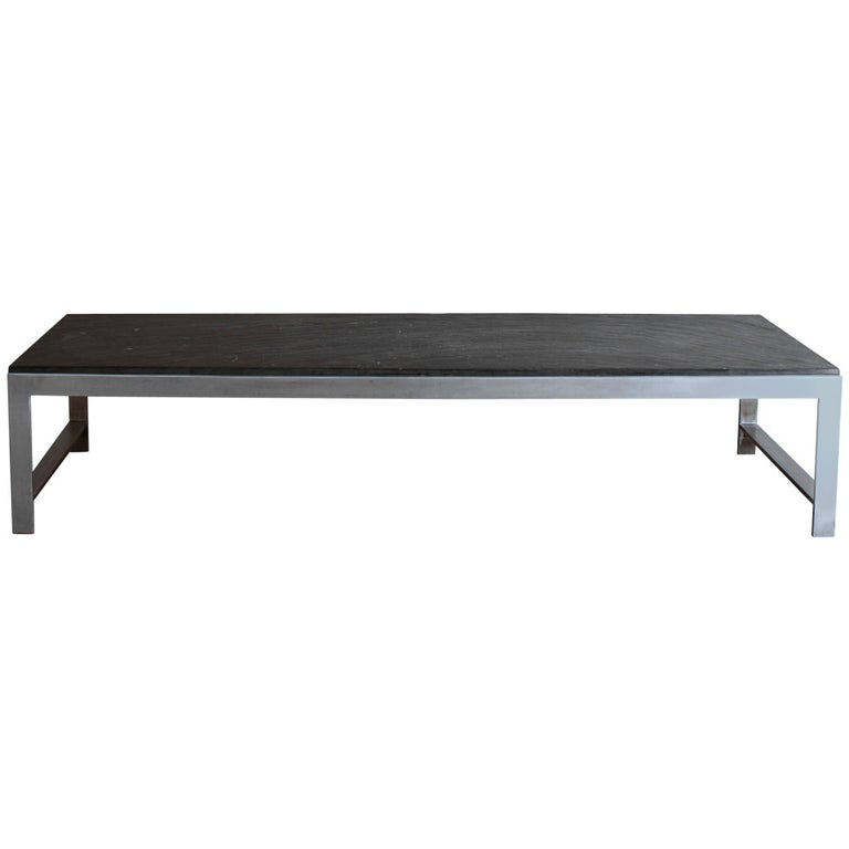 A Large Fine French 1970s Metal and Slate Coffee Table For Sale