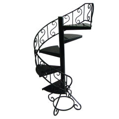 French 1940s Black lacquered Metal Circular decorative Display Staircase