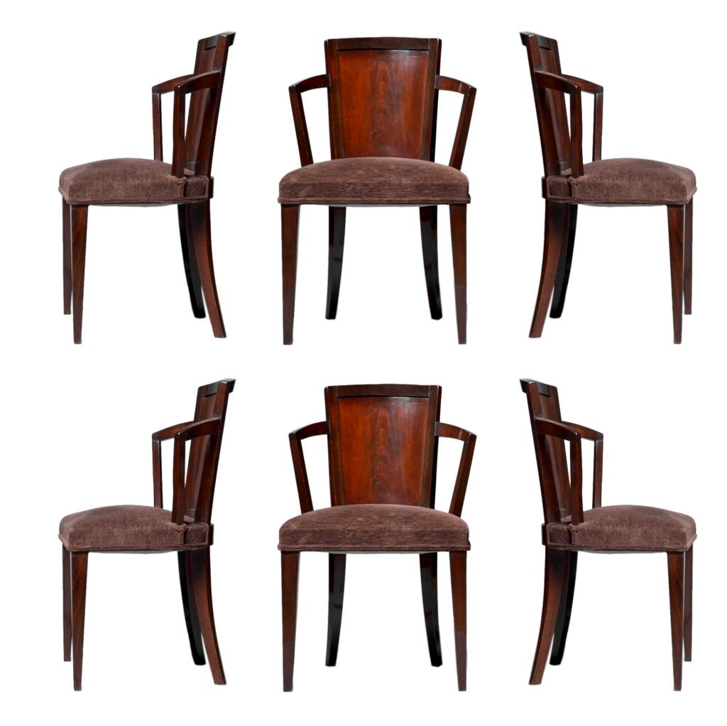 Set of six art deco chairs by pierre chareau at 1stdibs for Seating room furniture