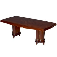 A Fine French Art Deco Rosewood and Marquetry Dining Table by Segal