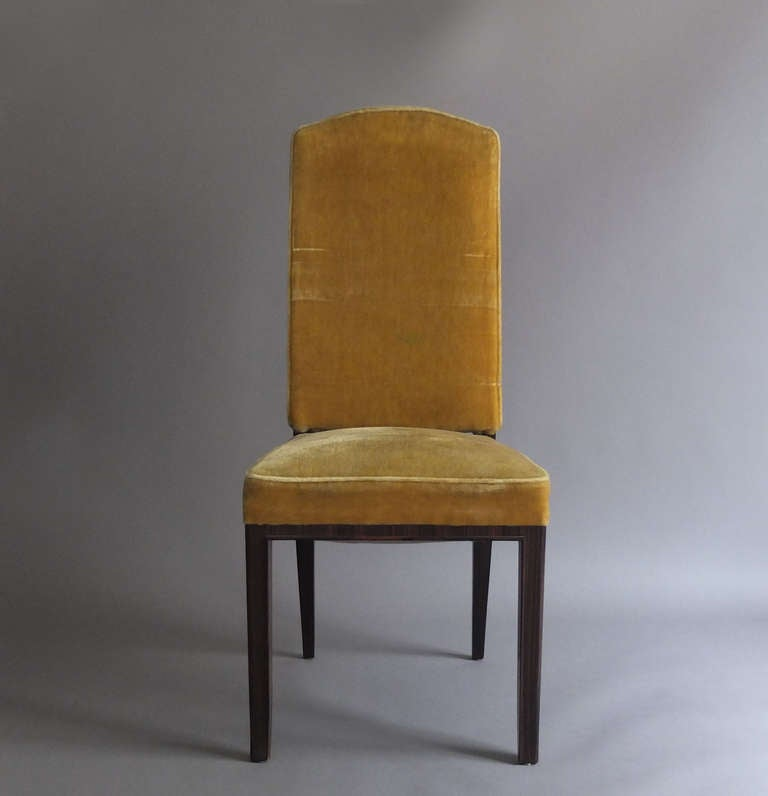 Mid-20th Century A Set of 8 Fine French Art Deco Macassar Ebony Dining Chairs by Paul Frechet For Sale
