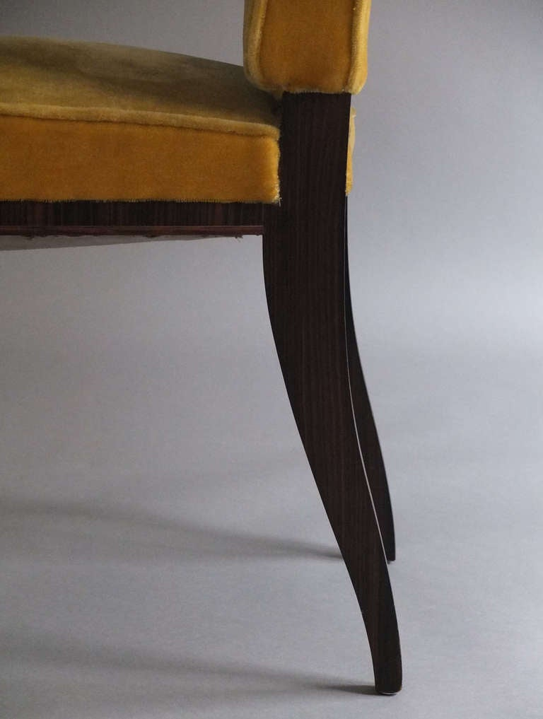 A Set of 8 Fine French Art Deco Macassar Ebony Dining Chairs by Paul Frechet For Sale 5