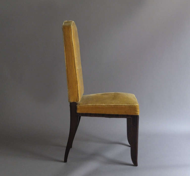 A Set of 8 Fine French Art Deco Macassar Ebony Dining Chairs by Paul Frechet For Sale 2