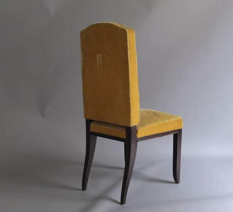 A Set of 8 Fine French Art Deco Macassar Ebony Dining Chairs by Paul Frechet For Sale 3