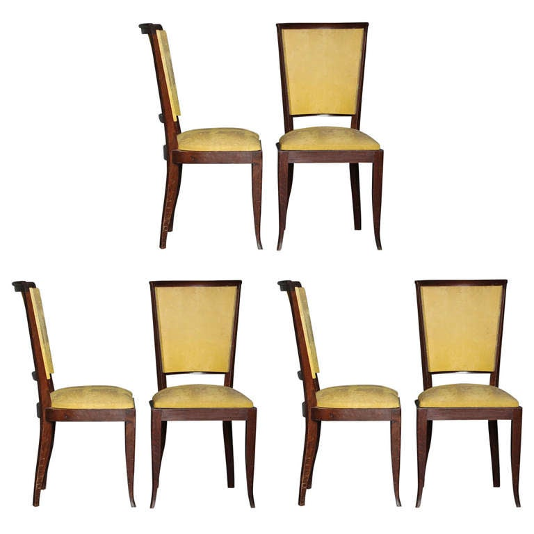 Set of Six French Art Deco Dining or Side Chairs at 1stdibs