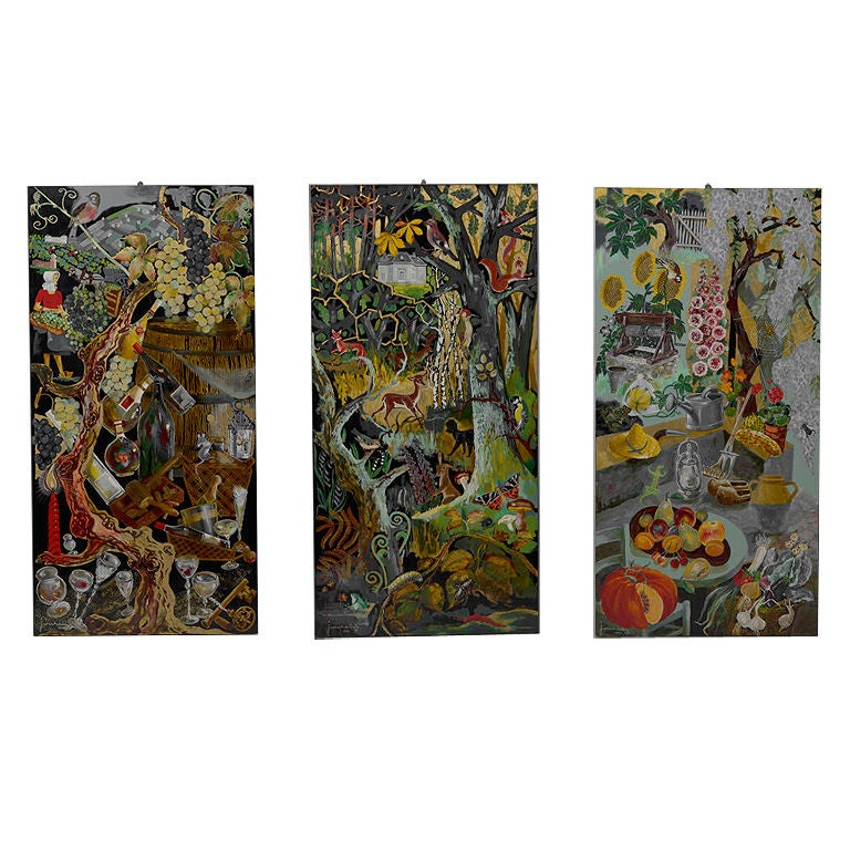 3 Original Mixed Media Paintings on Panels by Jourcin For Sale