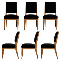 Set of Six Fine French Art Deco Chairs by Lucien Rollin