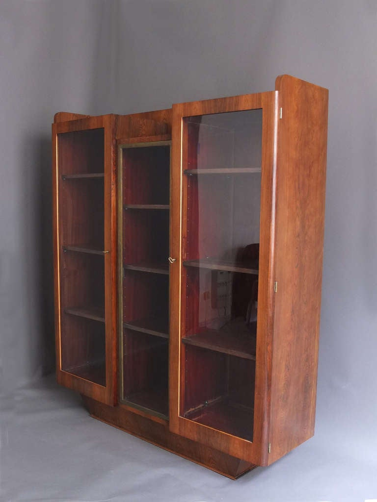 Fine french art deco rosewood bookcase or vitrine for sale for Decoration vitrine