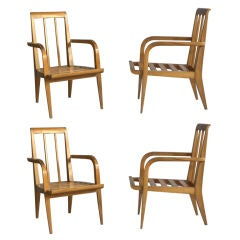Four Mid-Century Cherry Armchairs by Roger Landault