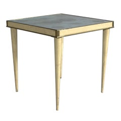 A Rare Italian Lacquered Side Table with a Scagliola and Lithograph Top