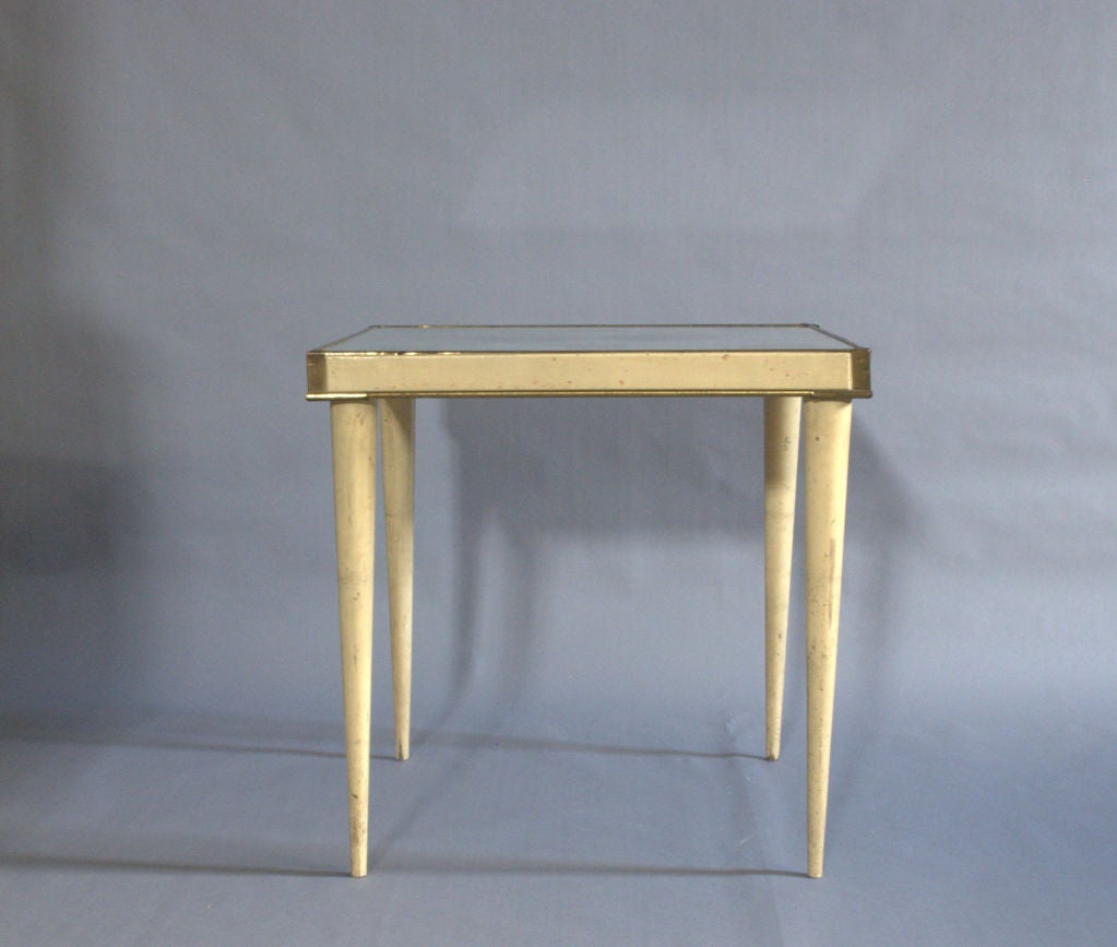 Mid-20th Century A Rare Italian Lacquered Side Table with a Scagliola and Lithograph Top For Sale