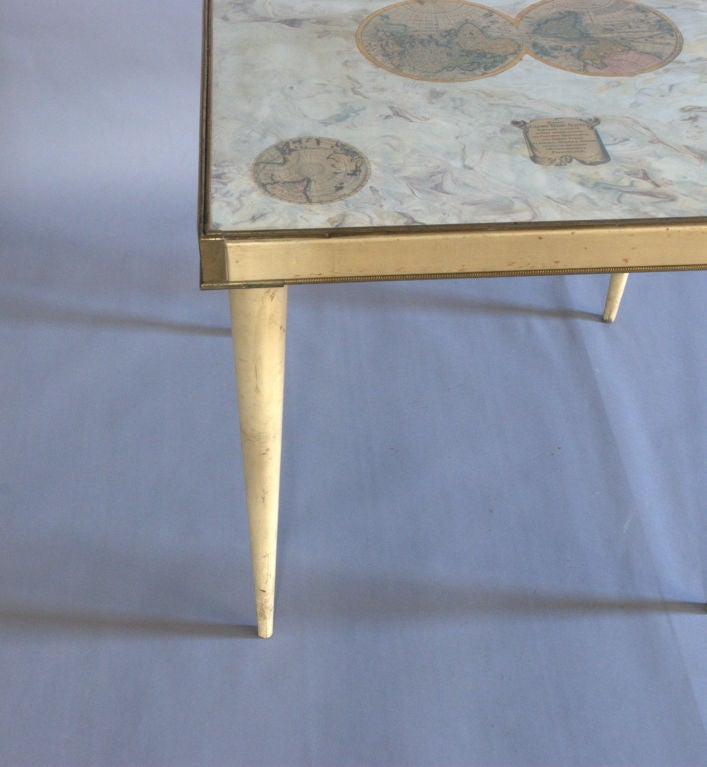 A Rare Italian Lacquered Side Table with a Scagliola and Lithograph Top For Sale 1