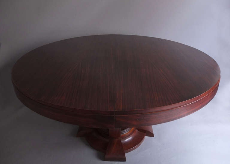 fine french art deco rosewood round dining or center table. Black Bedroom Furniture Sets. Home Design Ideas