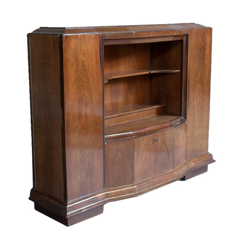 A Rare Fine French Art Deco Rosewood Collector Cabinet