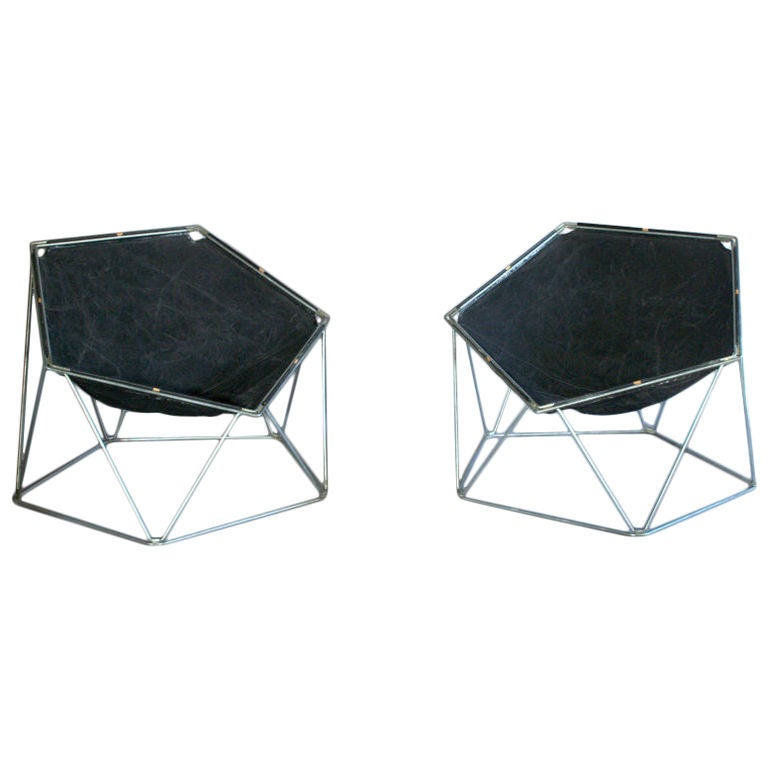 "A French 1960s ""Penta"" Lounge or Armchairs by Barray and Moltzer"
