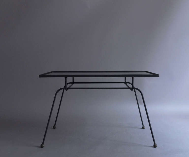 Fine french 1950s wrought iron and opaline top coffee - Pied table basse metal ...