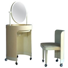 French, 1960s, Plastic Vanity and Chair