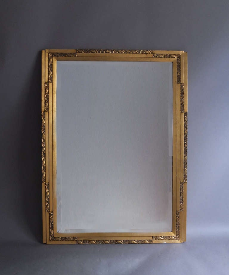 French art deco gilded mirror at 1stdibs for Long miroir mural
