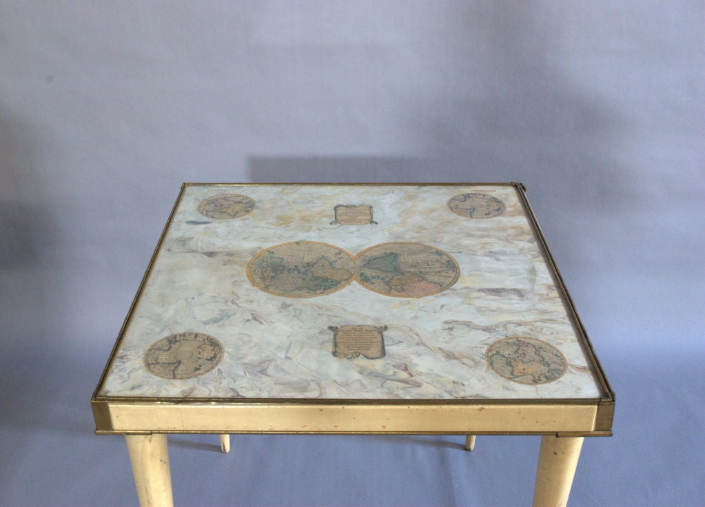 Mid-Century Modern A Rare Italian Lacquered Side Table with a Scagliola and Lithograph Top For Sale