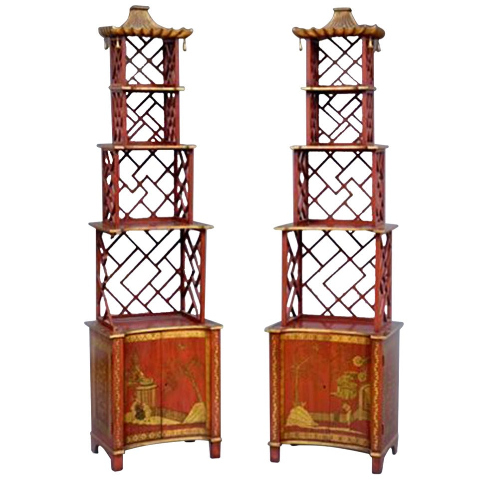 Pair of Maison Jansen Red Japanned Étagères
