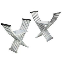 Pair of Iconic John Vesey Curule Folding Benches