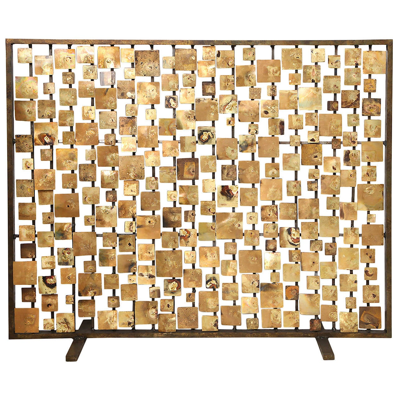 "Marie Suri ""Aurora"" Fire Screen in Gold For Sale"