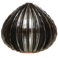 Bill Hudnut Ceramic Medium Pod in Silver Metallic Lustreware Glaze