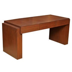 Large Karl Springer Desk Wrapped in Brown Lizard Embossed Leather