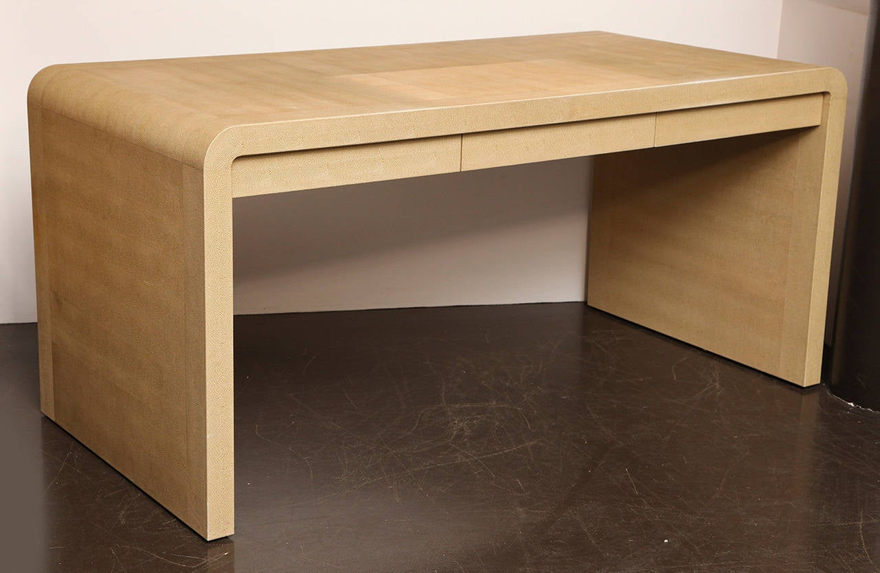 Karl Springer Leather Wrapped Waterfall Desk at 1stdibs