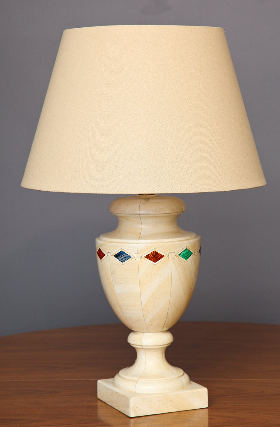 Jean Roger Faux Pietra Dura Ceramic Table Lamp For Sale At