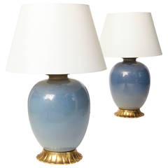 Tomaso Buzzi Pair of Large Glass Lamps for Venini