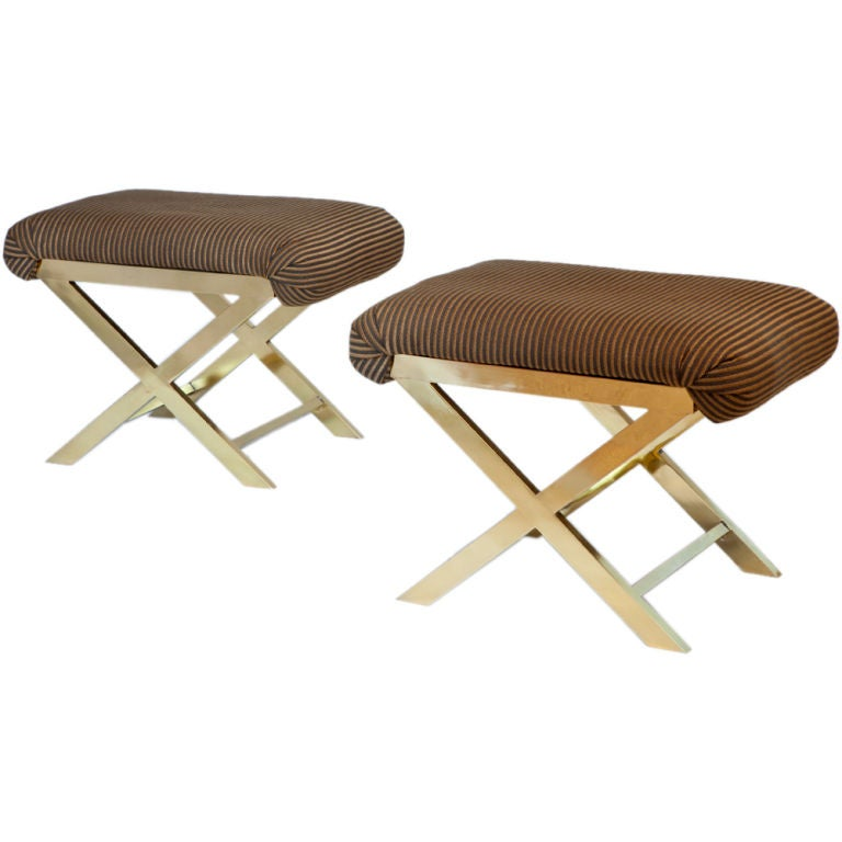 Upholstered X Benches By Charles Hollis Jones At 1stdibs