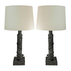Pair of Lamps in Grey Metal