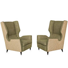 Fantastic Pair of High Back Wing Chairs