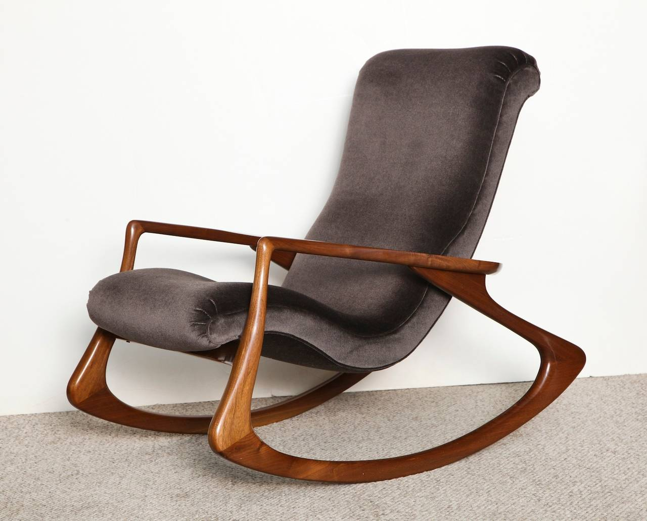 Merveilleux Contour Rocking Chair By Vladimir Kagan. Sculpted Walnut Frame With Dark  Velvet Upholstery. A