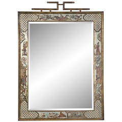 Rare Asian Style Mirror by Philip & Kelvin LaVerne