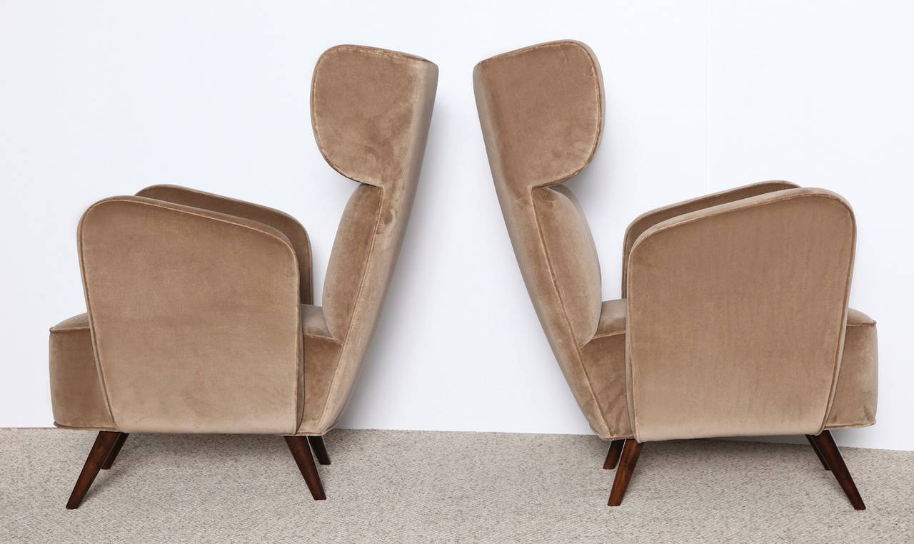 Inspired by the 1st class lounges of Italian trains from the 1940s and 1950s. Sculptural forms with generous proportions and fantastic construction. These chairs are handmade to order and available exclusively through Donzella. Four to six weeks