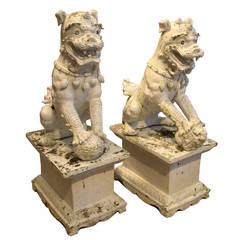 Pair of White Porcelain Foo Dogs
